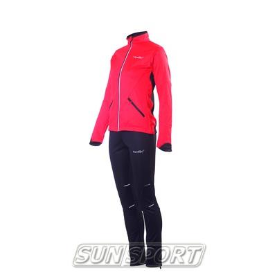 Разминочный костюм NordSki W Premium SoftShell женский красный (фото, вид 1)