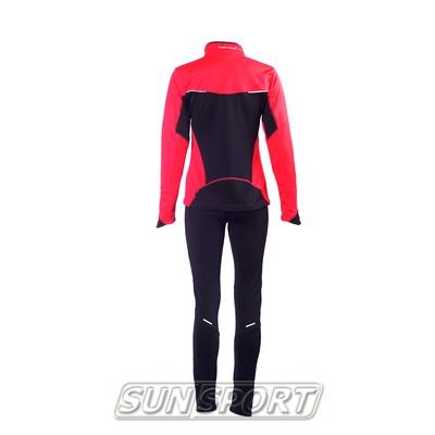 Разминочный костюм NordSki W Premium SoftShell женский красный (фото, вид 2)