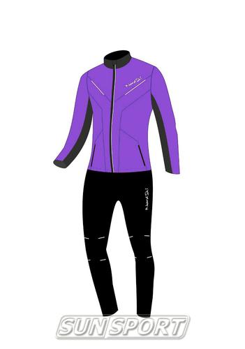 Разминочный костюм NordSki JR Premium SoftShell детский фиол/черный (фото, вид 4)