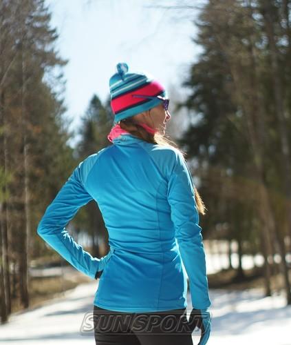 Разминочная куртка NordSki W Elite женская синяя (фото, вид 2)