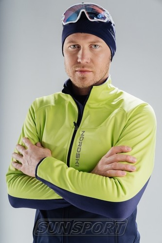 Разминочная куртка NordSki JR Premium SoftShell детская зел/т.синий (фото, вид 2)