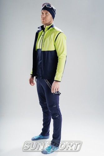 Разминочная куртка NordSki JR Premium SoftShell детская зел/т.синий (фото, вид 3)