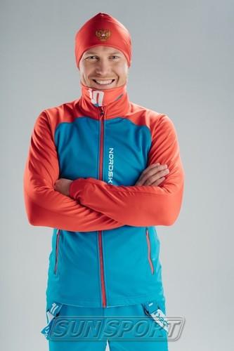 Разминочная куртка NordSki JR Premium SoftShell детская син/красный (фото, вид 2)