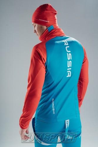 Разминочная куртка NordSki JR Premium SoftShell детская син/красный (фото, вид 3)