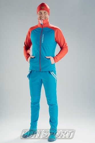 Разминочная куртка NordSki JR Premium SoftShell детская син/красный (фото, вид 4)