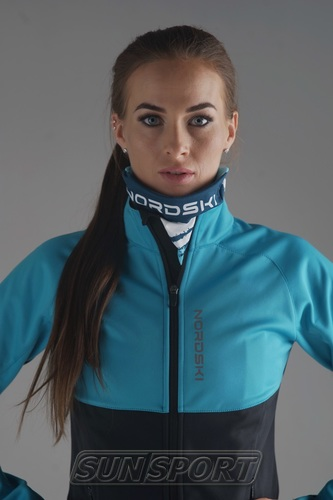 Разминочная куртка NordSki W Premium SoftShell женская голуб/черный (фото, вид 2)