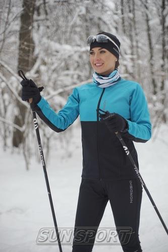 Разминочная куртка NordSki W Premium SoftShell женская голуб/черный (фото, вид 3)
