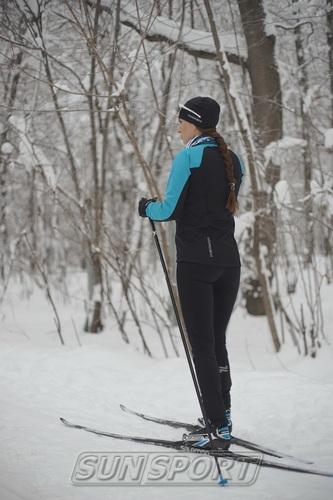 Разминочная куртка NordSki W Premium SoftShell женская голуб/черный (фото, вид 4)