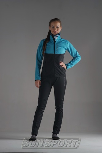 Разминочная куртка NordSki W Premium SoftShell женская голуб/черный (фото, вид 5)