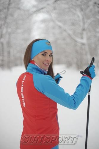Разминочная куртка NordSki W Premium SoftShell женская красн/синий (фото, вид 2)