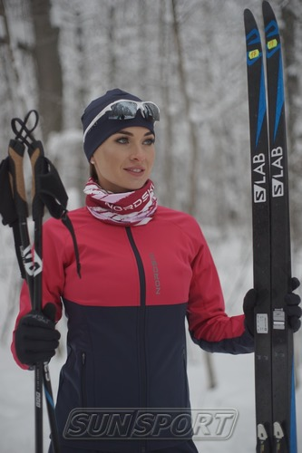 Разминочная куртка NordSki W Premium SoftShell женская розов/т.синий (фото, вид 2)