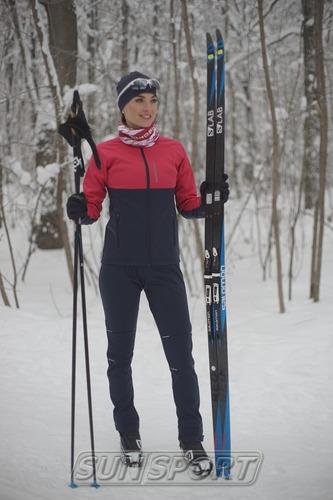 Разминочная куртка W Nordski Premium SoftShell розов/т.син (фото, вид 3)