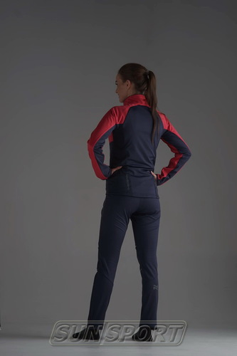 Разминочная куртка NordSki W Premium SoftShell женская розов/т.синий (фото, вид 4)