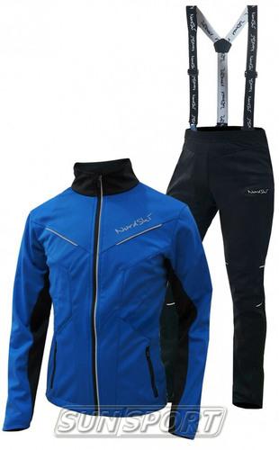 Разминочный костюм NordSki M Premium SoftShell мужской синий (фото, вид 3)
