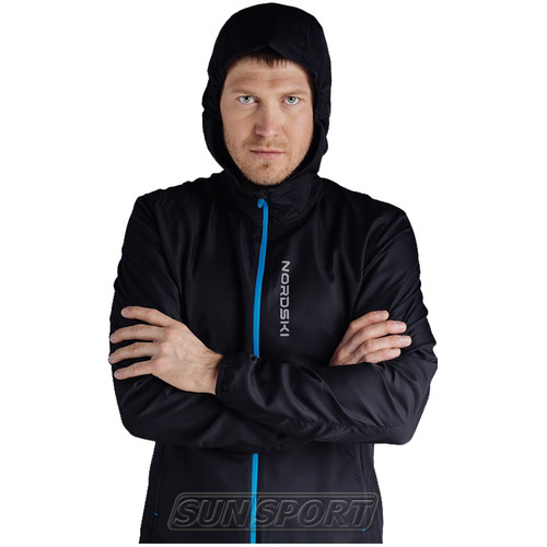 Куртка Тренировочная NordSki M Run мужская черный (фото, вид 4)