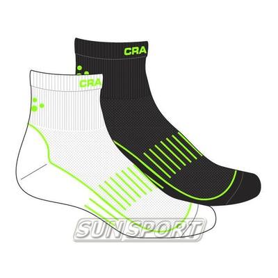 Носки беговые Craft Cool Training бел/черн/зеленый (фото, вид 1)