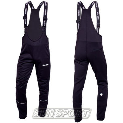 Разминочные штаны на лямках NordSki М Active мужские черный (фото, вид 2)
