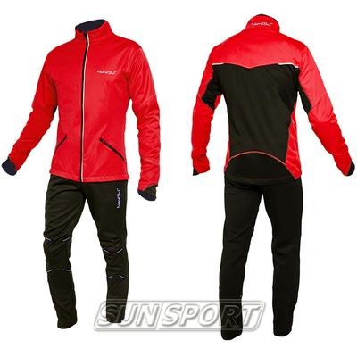 Разминочный костюм NordSki M Premium SoftShell мужской красный (фото, вид 2)