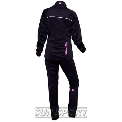 Разминочный костюм NordSki W SoftShell женский черн/розовый (фото, вид 1)