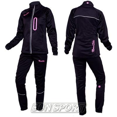 Разминочный костюм NordSki W SoftShell женский черн/розовый (фото, вид 2)