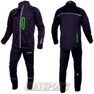 Разминочный костюм NordSki M SoftShell мужской чер/зеленый (фото, вид 2)