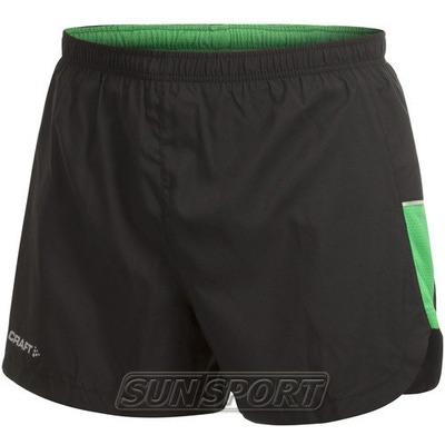 Шорты Craft M Perfomance Run мужские чёрн/зеленый