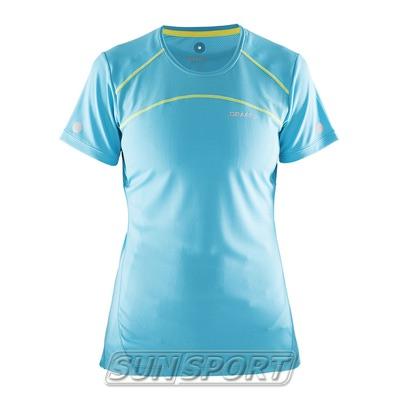Футболка Craft W Devotion Run женская бирюз/желтый (фото)