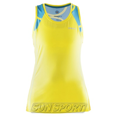 Майка Craft W Focus Run Cool Sublimated женская желт/бирюза (фото)