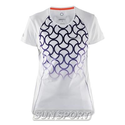 Футболка Craft W Focus Run Cool Sublimated женская бел/принт (фото)