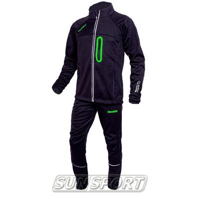 Разминочный костюм NordSki JR SoftShell детский черн/зеленый (фото)