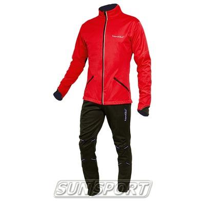 Разминочный костюм NordSki M Premium SoftShell мужской красный (фото)