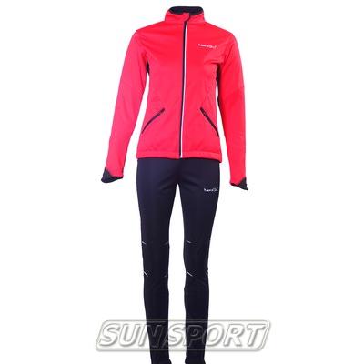 Разминочный костюм NordSki W Premium SoftShell женский красный (фото)