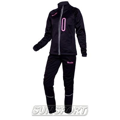 Разминочный костюм NordSki W SoftShell женский черн/розовый (фото)
