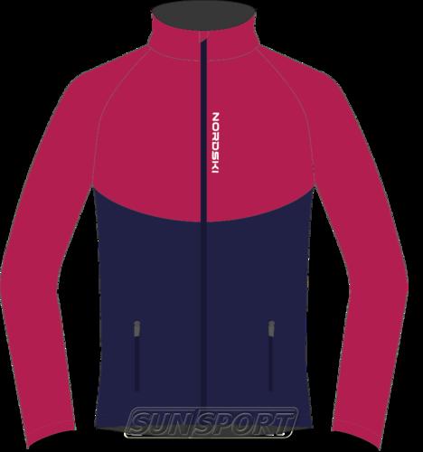 Разминочная куртка NordSki W Premium SoftShell женская розов/т.синий (фото)