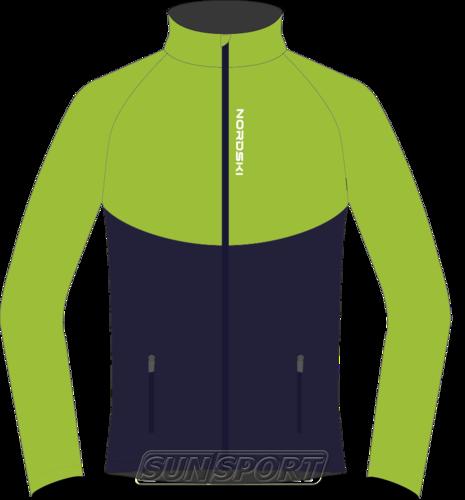 Разминочная куртка NordSki JR Premium SoftShell детская зел/т.синий (фото)