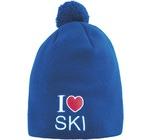 Шапка Noname I Love Ski синий