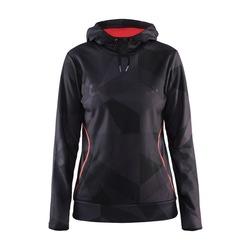 Толстовка Craft W Logo Hood женская черн/оранжевый